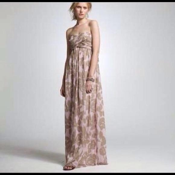 J Crew Dresses J Crew Strapless Empire Waist Silk Maxi Dress 2p
